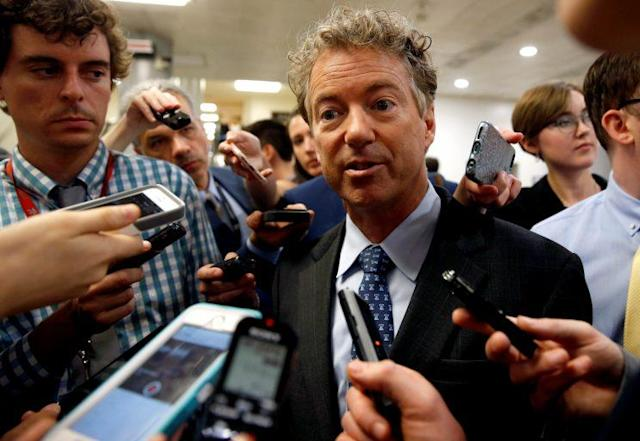 Senator Rand Paul speaks to reporters after Senate Republicans unveiled their version of health care legislation, June 22, 2017. (Photo: Joshua Roberts/Reuters)