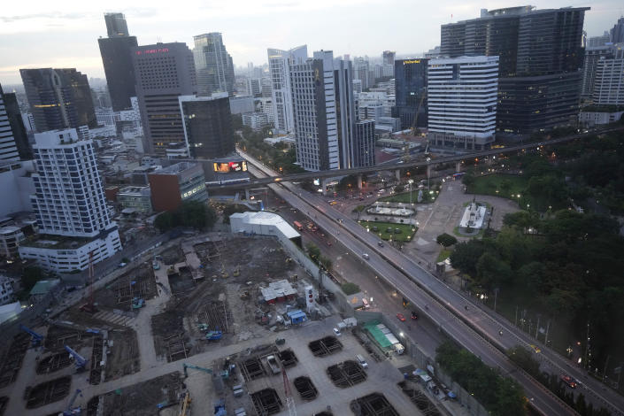 A construction site sits empty in Bangkok, Thailand, Friday, June 25, 2021. As Thailand has struggled unsuccessfully to lower the number of new COVID-19 cases and related deaths during its third and worst wave of coronavirus infections, the government on Friday ordered the camps where construction workers are housed in Bangkok and other hard-hit areas to be shut for a month and the workers kept inside to help stop the spread of the disease. (AP Photo/Sakchai Lalit)