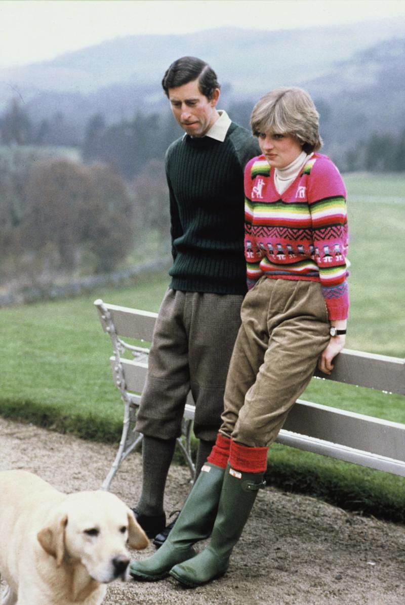 BALMORAL, SCOTLAND - 1981: Lady Diana Spencer wearing an Inca jersey, spends time with her fiance Prince Charles, Prince of Wales, at Balmoral, Scotland before their July 29, 1981 wedding. (Photo by Anwar Hussein/WireImage)