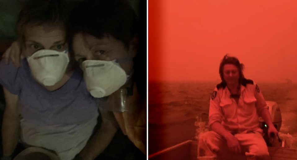 Left - Rae Harvey (right) and a carer wearing face masks as in the dark. Rae Harvey's neighbour Simon in a boat agains a red sky.