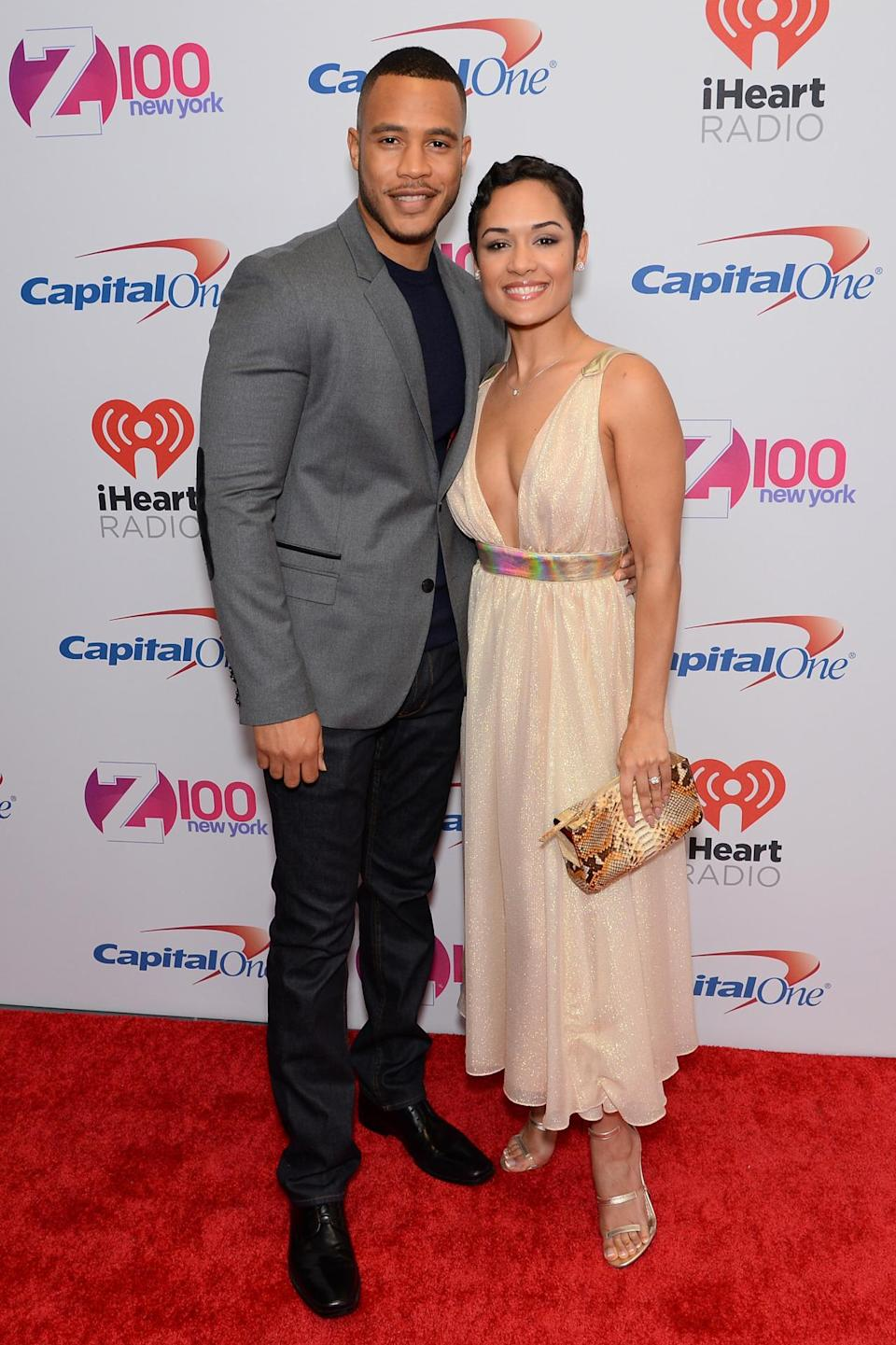 <p>And now for an adorable couple moment. <i>Empire </i>stars Trai Byers and Grace Gealey looked too cute together last night as they hit the red carpet. Byers opted for a denim pants, a smart suit jacket, black shirt and black shoes while his fiancée went with this plunging champagne gown with a holographic belt.</p>