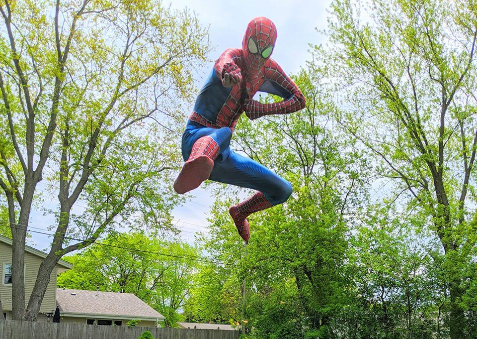<em>He also perfected his Spider-Man poses, making for excellent photoshoots with smiling children. (Photo courtesy of Spidey's daughter Mia)</em>