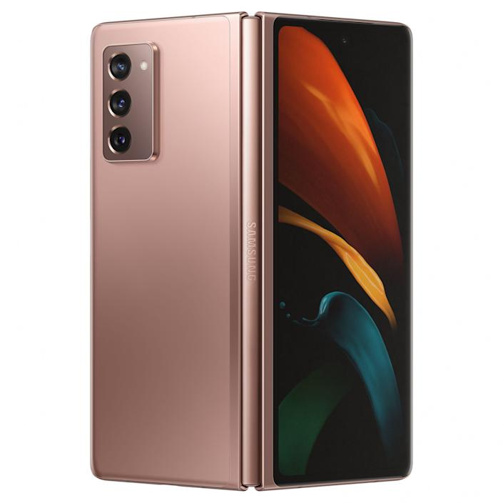 """<p><strong>Samsung</strong></p><p>amazon.com</p><p><strong>$1999.99</strong></p><p><a href=""""https://www.amazon.com/dp/B08GL3QYHC?tag=syn-yahoo-20&ascsubtag=%5Bartid%7C10060.g.35226246%5Bsrc%7Cyahoo-us"""" rel=""""nofollow noopener"""" target=""""_blank"""" data-ylk=""""slk:Shop Now"""" class=""""link rapid-noclick-resp"""">Shop Now</a></p><p>The Samsung Galaxy Z Fold2 is, like <a href=""""https://go.redirectingat.com?id=74968X1596630&url=https%3A%2F%2Fwww.bestbuy.com%2Fsite%2Fsamsung-galaxy-fold-with-512gb-memory-cell-phone-unlocked-cosmos-black%2F6377530.p%3FskuId%3D6377530&sref=https%3A%2F%2Fwww.popularmechanics.com%2Ftechnology%2Fgadgets%2Fg35226246%2Fbest-samsung-phones-and-smartphones%2F"""" rel=""""nofollow noopener"""" target=""""_blank"""" data-ylk=""""slk:its predecessor"""" class=""""link rapid-noclick-resp"""">its predecessor</a>, the tech giant's most futuristic and expensive smartphone. The conversation-worthy tech product can instantly transform from a compact smartphone to an Android tablet. With a 6.2-inch AMOLED display and a foldable 7.6-inch Dynamic AMOLED 2X panel, the Z Fold2 is as attention-commanding as a smartphone can be today.</p><p>Samsung has equipped the Galaxy Z Fold2 with a powerful chipset and plenty of RAM, ensuring that nothing will slow it down. The device's triple camera is also fantastic — it will consistently capture photos and 4K video with great quality. Its selfie cameras are also impressive. You have one when you open the device, and another one when folded.</p><p>Once again and unlike Samsung's Galaxy S and Galaxy Note products, the Galaxy Z Fold2 is not water-resistant. Considering its unique build, you will always need to be careful with the device.</p><p>You can order the Samsung Galaxy Z Fold2 in mystic black or mystic bronze. If you are willing to wait a few extra weeks, you can even customize the color of the gadget's unique hinge. There are four additional options to choose from in addition to the ones that match the phone: silver, gold, blue, and red.</p><p><strong>Chipse"""