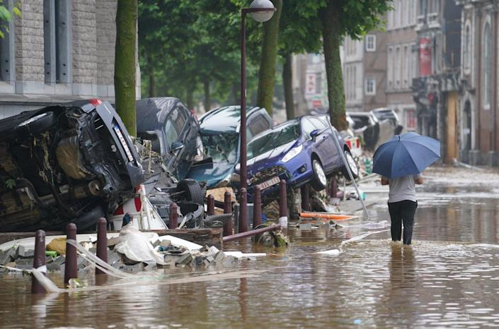 """<span class=""""caption"""">Climate change made the devastating flooding in Belgium, Germany and other European countries in July 2021 more likely.</span> <span class=""""attribution""""><a class=""""link rapid-noclick-resp"""" href=""""https://www.gettyimages.com/detail/news-photo/picture-taken-on-july-15-2021-shows-a-view-of-a-flooded-news-photo/1233994855"""" rel=""""nofollow noopener"""" target=""""_blank"""" data-ylk=""""slk:Anthony Dehez/Belga/AFP via Getty Images"""">Anthony Dehez/Belga/AFP via Getty Images</a></span>"""