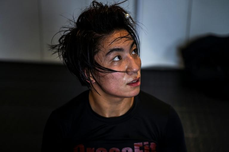 MMA (mixed martial arts) fighter Miao Jie, seen during a training session in Shanghai