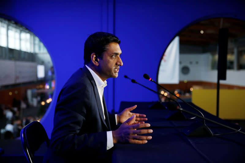 US Democratic Representative Ro Khanna, vice chair of the 98-member Congressional Progressive Caucus, holds a news conference during Web Summit, in Lisbon