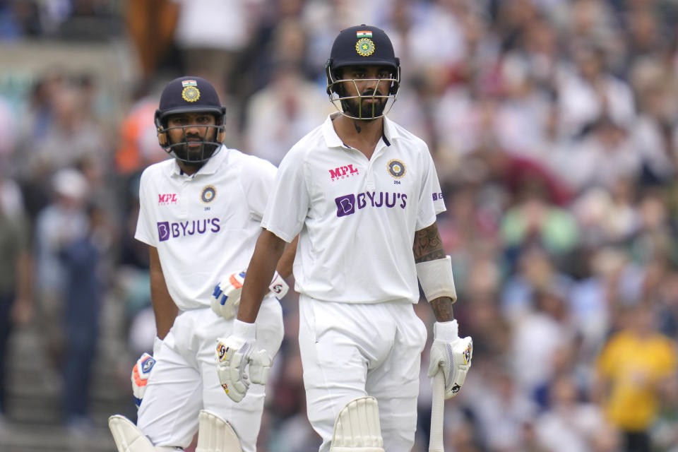 India's KL Rahul leaves the pich after he is caught out by England's Jonny Bairstow off the bowling of England's James Anderson on day three of the fourth Test match at The Oval cricket ground in London, Saturday, Sept. 4, 2021. (AP Photo/Kirsty Wigglesworth)