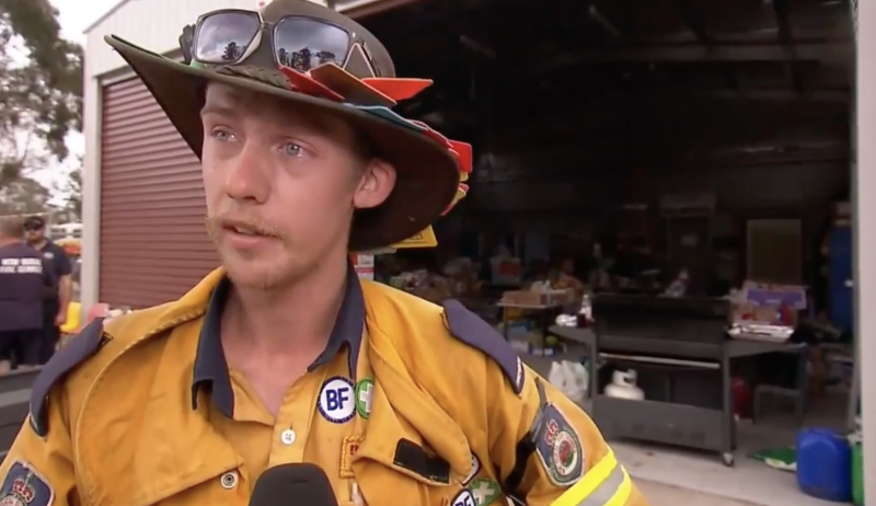 Andrew Johnston became overwhelmed by the support for the RFS, upon seeing the supplies and Christmas gifts at the fire station. Source: Nine News