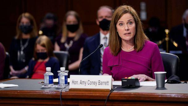 PHOTO: Supreme Court nominee Amy Coney Barrett speaks during her Senate Judiciary Committee confirmation hearing for Supreme Court Justice on Capitol Hill, Oct. 12, 2020, in Washington, D.C. (Patrick Semansky/Pool via Getty Images)