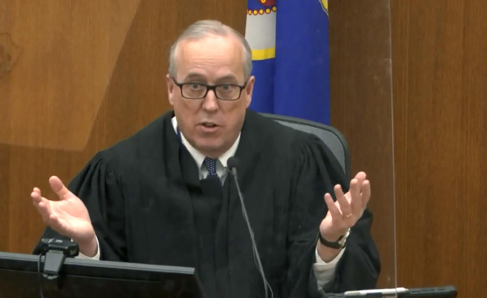 In this image taken from video, Hennepin County Judge Peter Cahill speaks during pretrial motions, prior to continuing jury selection in the trial of former Minneapolis police officer Derek Chauvin, Thursday, March 11, 2021, at the Hennepin County Courthouse in Minneapolis, Minn. Chauvin is accused in the May 25, 2020, death of George Floyd. (Court TV/ Pool via AP)