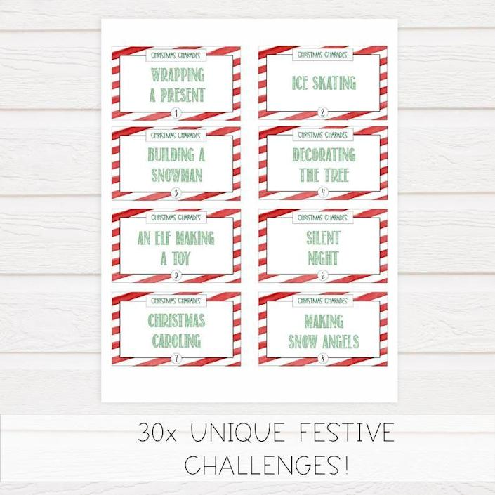 """<p><strong>ohhappyprintables</strong></p><p>Etsy</p><p><strong>$4.63</strong></p><p><a href=""""https://go.redirectingat.com?id=74968X1596630&url=https%3A%2F%2Fwww.etsy.com%2Flisting%2F741894646%2Fchristmas-party-game-christmas-charades&sref=https%3A%2F%2Fwww.housebeautiful.com%2Fentertaining%2Fholidays-celebrations%2Fg28914935%2Fchristmas-games-for-family%2F"""" rel=""""nofollow noopener"""" target=""""_blank"""" data-ylk=""""slk:Shop Now"""" class=""""link rapid-noclick-resp"""">Shop Now</a></p><p>Charades is always a fun party game for all ages—but it gets even better when it's holiday-themed. You can purchase a printable set of seasonal clues on Etsy, or create your own!</p>"""
