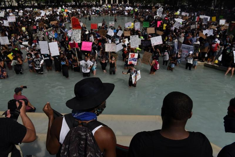 Protesters gather against the death in Minneapolis police custody of George Floyd in Houston