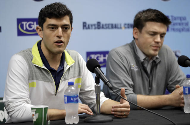 Chaim Bloom (left) is going to have an interesting job ahead of him in Boston. (AP Photo/Chris O'Meara)