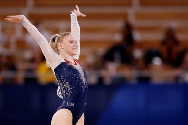 American Jade Carey reacts after competing during the women's floor exercise final at Ariake Gymnastics Centre on Monday. (Adam Pretty/Getty Images - image credit)