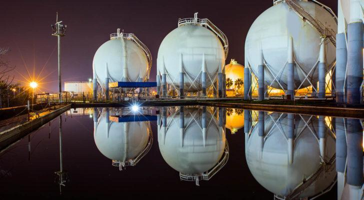 An image showing natural gas storage containers.