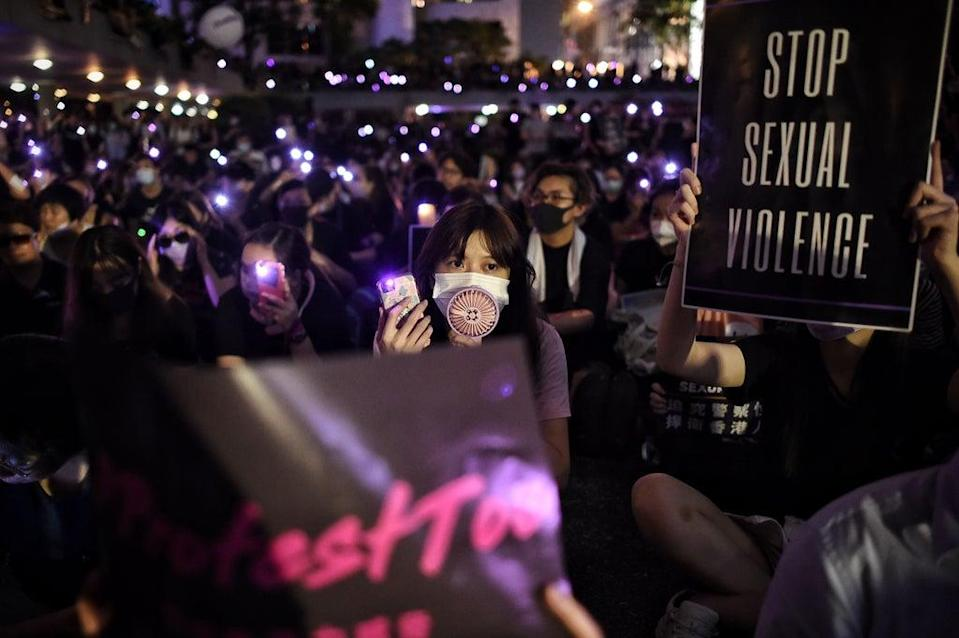 People take part in a #MeToo rally in Hong Kong in 2019 (AFP/Getty Images)