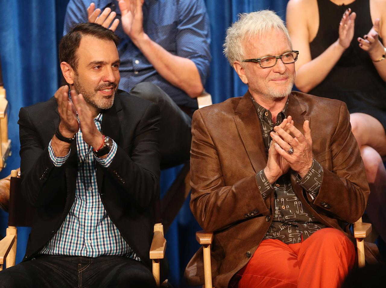 "BEVERLY HILLS, CA - APRIL 12: Head writer Ron Carlivati (L) and actor Anthony Geary attend The Paley Center for Media Presents ""General Hospital: Celebrating 50 years and Looking Forward"" at The Paley Center for Media on April 12, 2013 in Beverly Hills, California.  (Photo by Frederick M. Brown/Getty Images)"