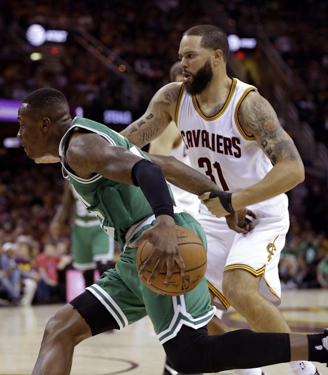 <p>Cleveland Cavaliers' Deron Williams (31) defends against Boston Celtics' Terry Rozier, left, during the first half of Game 3 of the NBA basketball Eastern Conference finals, Sunday, May 21, 2017, in Cleveland. (AP Photo/Tony Dejak) </p>