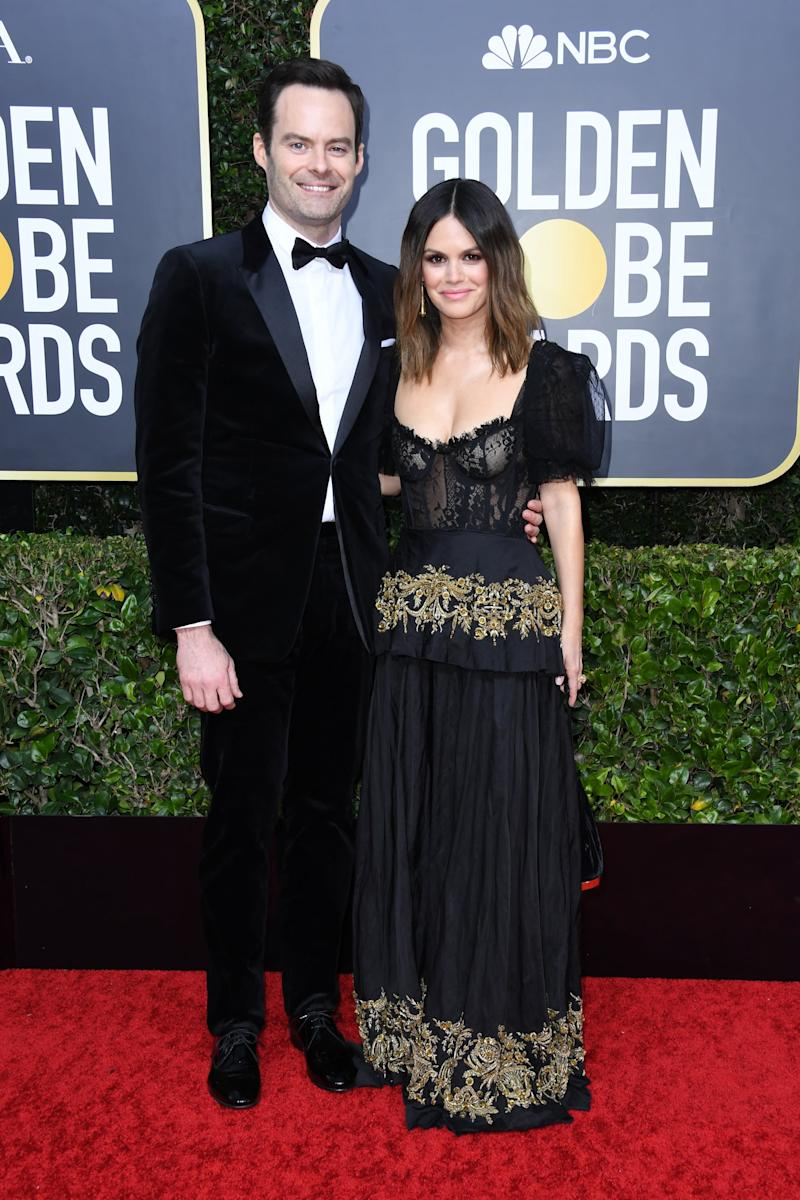 BEVERLY HILLS, CALIFORNIA - JANUARY 05: (L-R) Bill Hader and Rachel Bilson attend the 77th Annual Golden Globe Awards at The Beverly Hilton Hotel on January 05, 2020 in Beverly Hills, California. (Photo by Jon Kopaloff/Getty Images)