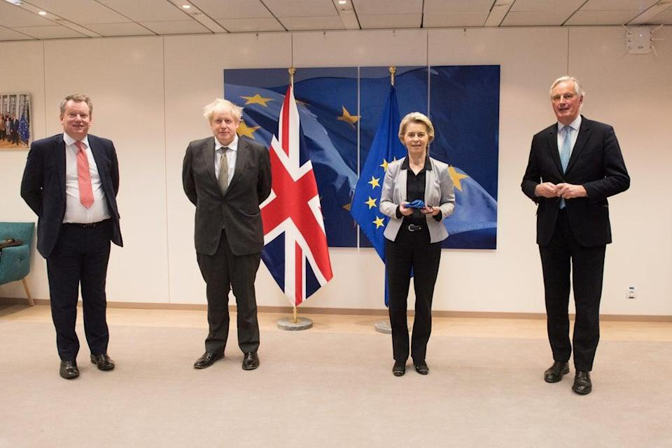 Lord David Frost, Prime Minister Boris Johnson, European Commission president Ursula von der Leyen and Michel Barnier in Brussels (Etienne Ansotte/PA) (PA Media)