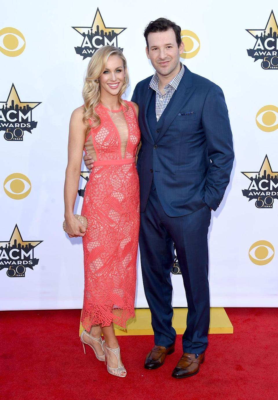 "<p>Journalist Candice Crawford made her parents hide in the bathroom when former football player and analyst Tony Romo took her out <a href=""https://www.countryliving.com/life/entertainment/a29589577/tony-romo-wife-candice-crawford/"" rel=""nofollow noopener"" target=""_blank"" data-ylk=""slk:on their first date"" class=""link rapid-noclick-resp"">on their first date</a>. Two years after meeting, the couple tied the knot in front of <a href=""https://people.com/celebrity/inside-tony-romo-and-candice-crawfords-wedding/"" rel=""nofollow noopener"" target=""_blank"" data-ylk=""slk:600 of their closest friends in 2011"" class=""link rapid-noclick-resp"">600 of their closest friends in 2011</a>. </p>"