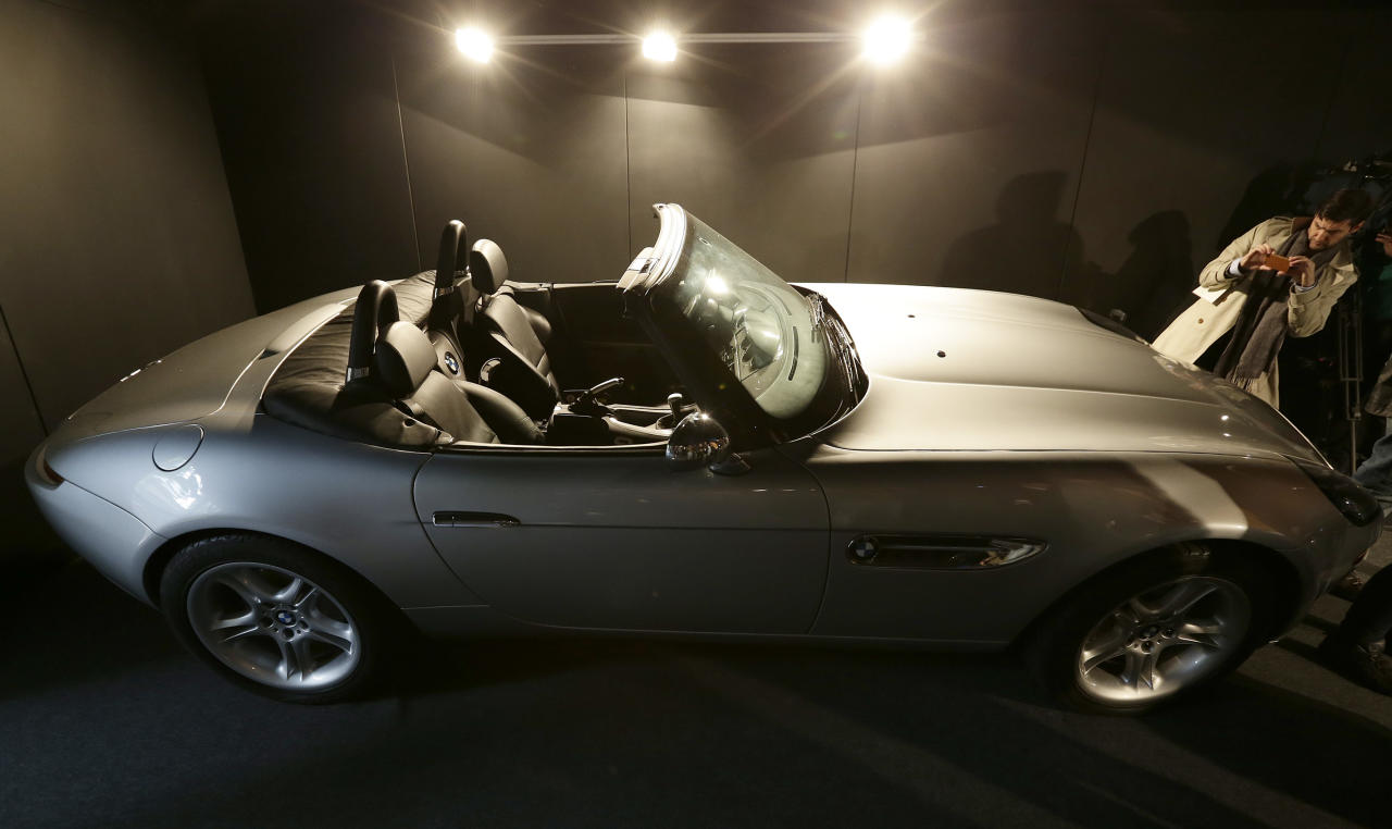 A pre-production replica MBW Z8 roadster made for the film 'The World is Not Enough' starring Pierce Brosnan is seen at a press preview of the James Bond movie memorabilia charity auction at Christie's auction house in London, Friday, Sept. 28, 2012. The car is expected to sell fro some 25-30,000 British pounds ($38-53,000 euro 2-39,000) with the proceeds going to UNICEF.(AP Photo/Alastair Grant)