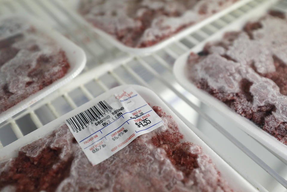 Packages of meat sit in a cooler at a local super market, Friday, May 29, 2020, in Des Moines, Iowa. As if trips to the grocery store weren't nerve-racking enough, shoppers lately have seen the costs of meat, eggs and even potatoes soar as the coronavirus has disrupted processing plants and distribution networks. (AP Photo/Charlie Neibergall)