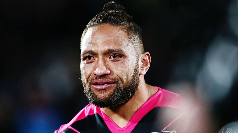 Manu Vatuvei (pictured) emotional in his last game for the New Zealand Warriors.