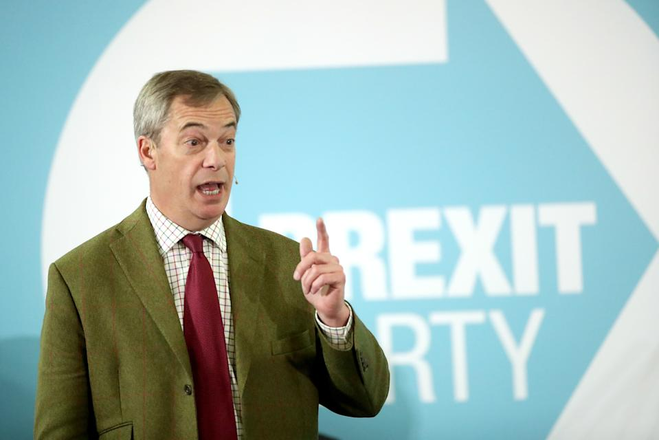 Brexit Party leader Nigel Farage addresses supporters at Ionians RUFC in Hull during General Election campaigning.