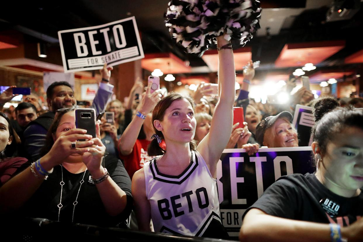 Louise Pennebaker cheers for U.S. Senate candidate Rep. Beto O'Rourke, D-Texas, during a campaign rally at the House of Blues in Houston on Monday. (Photo: Chip Somodevilla/Getty Images)