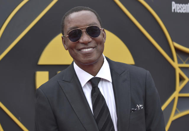 Isiah Thomas arrives at the NBA Awards on Monday, June 24, 2019, at the Barker Hangar in Santa Monica, Calif. (Photo by Richard Shotwell/Invision/AP)