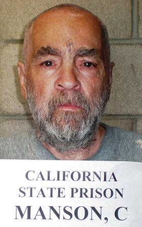 FILE PHOTO -  Convicted murderer Charles Manson is shown in this handout image released March 18, 2009 from Corcoran State Prison in California.  REUTERS/Courtesy of Corcoran State Prison/Handout/File Photo