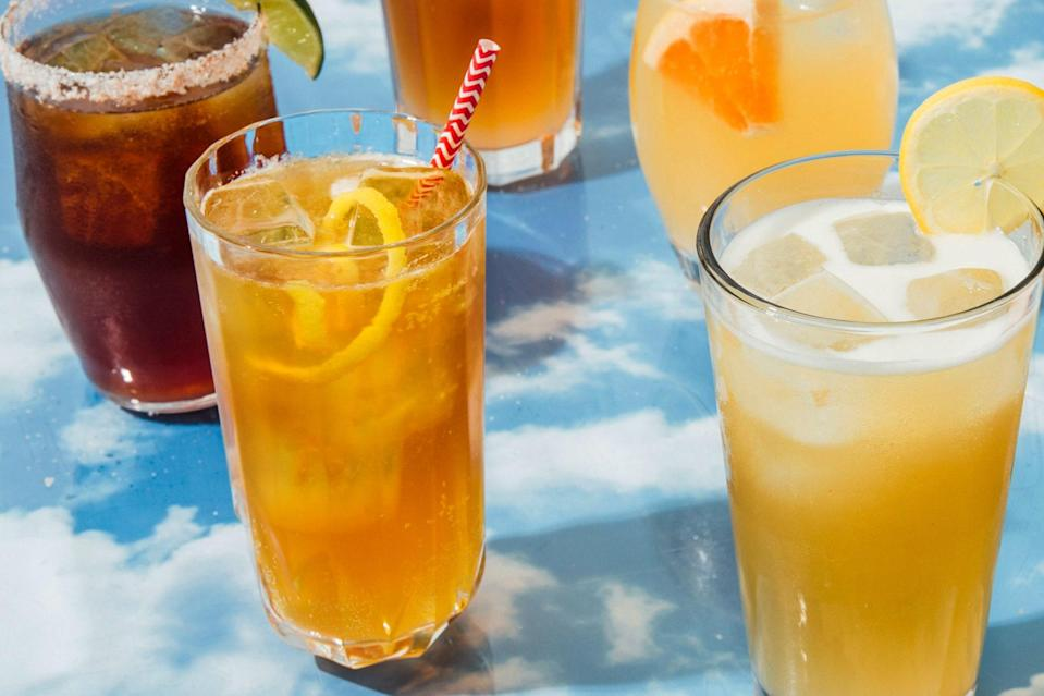 """A shandy is one of the most refreshing summer drinks we know. In this riff, iced lager and lemonade get a pour of smoky whiskey. Drink it till the sun goes down. <a href=""""https://www.epicurious.com/recipes/food/views/cowboy-shandy-scotch-whiskey-lager-beer-lemon-cocktail?mbid=synd_yahoo_rss"""" rel=""""nofollow noopener"""" target=""""_blank"""" data-ylk=""""slk:See recipe."""" class=""""link rapid-noclick-resp"""">See recipe.</a>"""