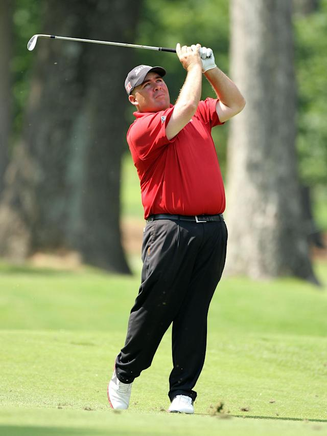 MEMPHIS, TN - JUNE 08: Kevin Stadler hits his second shot on the par 4 15th hole during the second round of the FedEx St. Jude Classic at TPC Southwind on June 8, 2012 in Memphis, Tennessee. (Photo by Andy Lyons/Getty Images)