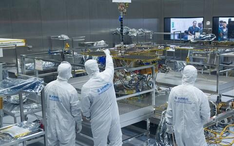 The ExoMars rover being assembled in a clean room at Airbus' factory in Stevenage, Hertfordshire - Credit: Eddie Mulholland