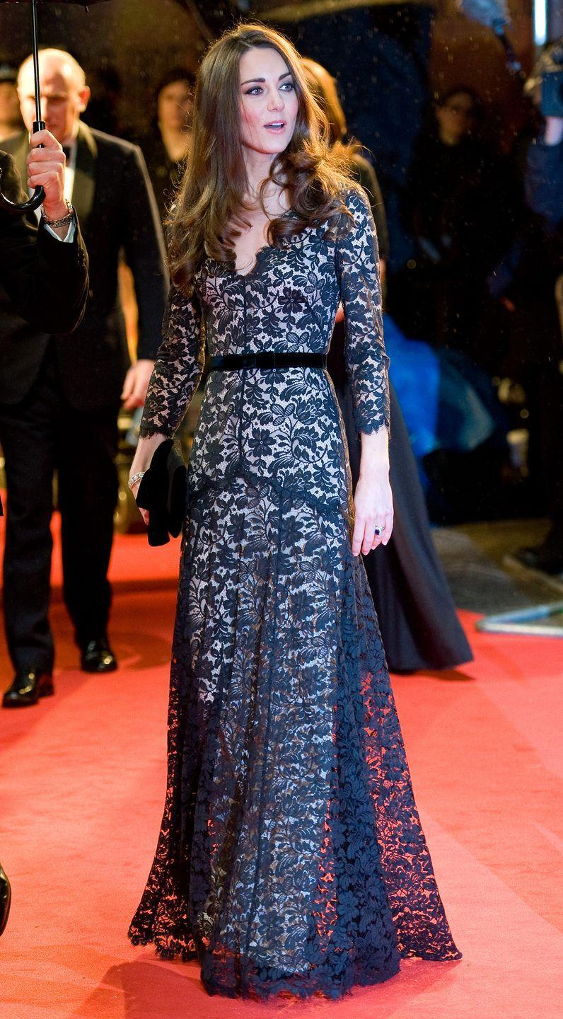 <p>Kate wore this black lace Temperley gown to attend the premiere of War Horse in London. </p>