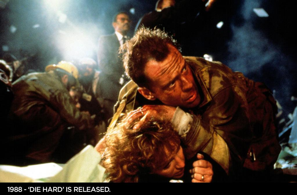 "1988  ""Die Hard"" is released. Bruce Willis stars as NYPD officer John McClane in this action-packed film based on the Roderick Thorp novel ""Nothing Last Forever."""