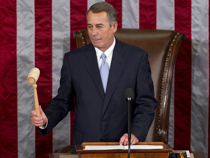 <p>Outgoing Speaker of the House John Boehner, Republican of Ohio, uses his gavel to call a vote for a new Speaker in the House Chamber at the US Capitol in Washington, DC, on 29 October 2015</p> ((AFP via Getty Images))
