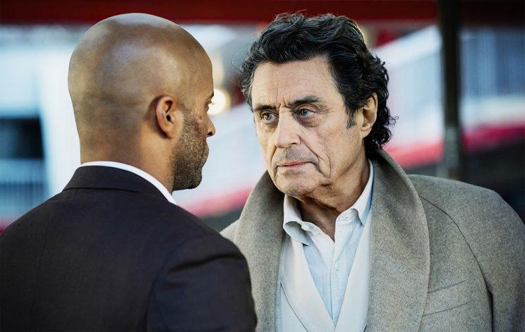 Ricky Whittle and Ian McShane in American Gods