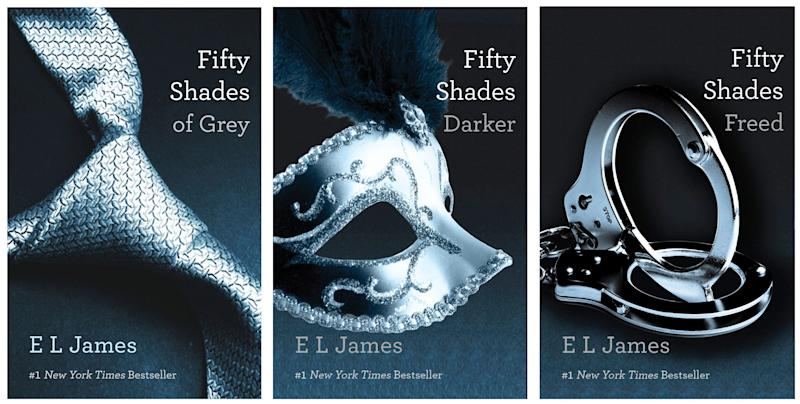 """FILE- This file combo made of book cover images provided by Vintage Books shows the """"Fifty Shades of Grey"""" trilogy by best-selling author E L James. Pearson PLC will merge its Penguin Books division with Random House, which is owned by German media company Bertelsmann, in an all-share deal that will create the world's largest publisher of consumer books, it was reported on Monday, Oct. 29, 2012. The planned joint venture brings together classic and best-selling names. As well as publishing books from authors such as John Grisham, Random House scored a major hit this year with """"Fifty Shades of Grey."""" Penguin has a strong backlist, including George Orwell, Jack Kerouac and John Le Carre. (AP Photo/Vintage Books, File)"""