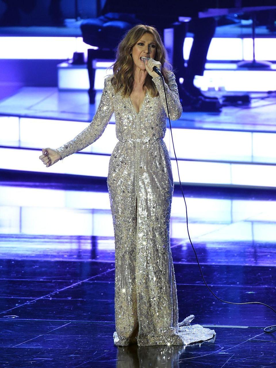<p>Going for the shine factor, she returned to her Las Vegas residency in a sparkling metallic full-length gown. </p>