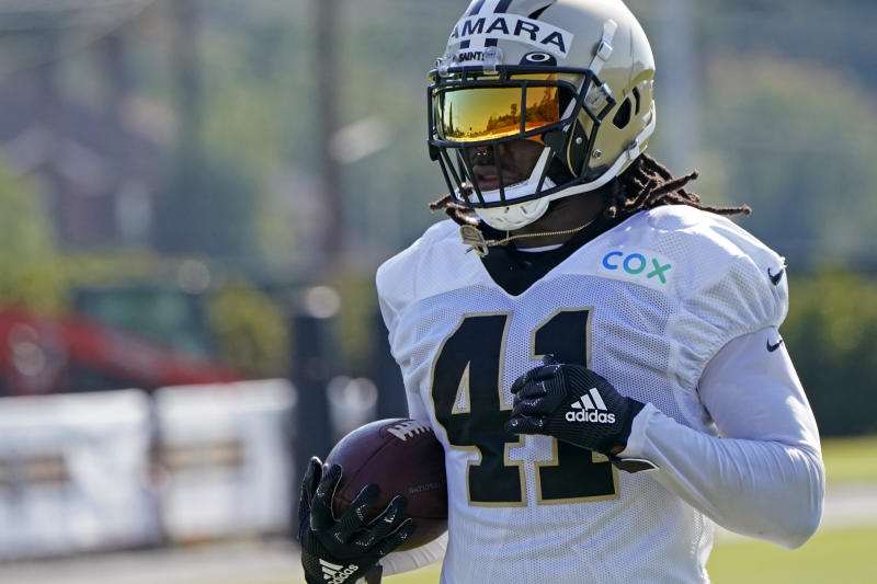 Alvin Kamara has had three days of unexcused absences from training camp. (AP Photo/Gerald Herbert, pool)