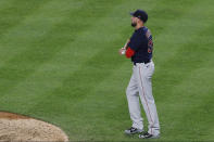 Boston Red Sox relief pitcher Matt Barnes looks to the outfield after allowing a two-run home run to New York Yankees' Aaron Judge during the eighth inning of a baseball game Sunday, Aug. 2, 2020, at Yankee Stadium in New York. (AP Photo/Kathy Willens)