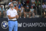 Patrick Cantlay reacts after missing a putt on the 17th green, the third playoff hole during the final round of the BMW Championship golf tournament, Sunday, Aug. 29, 2021, at Caves Valley Golf Club in Owings Mills, Md. (AP Photo/Nick Wass)