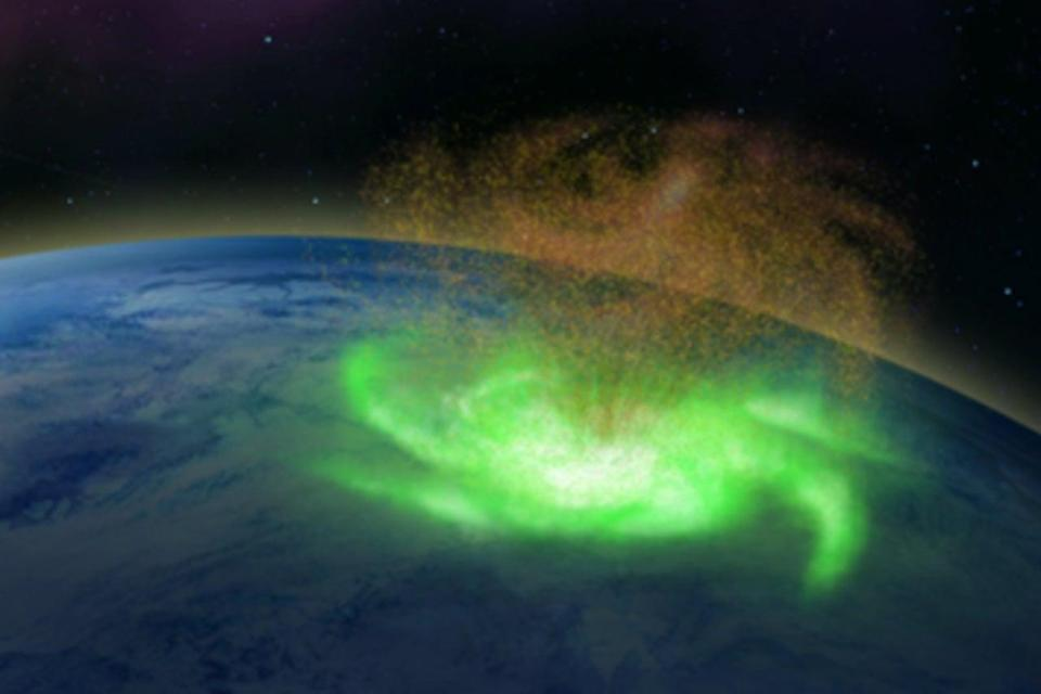 <p>Illustration of a space hurricane</p> (PA)