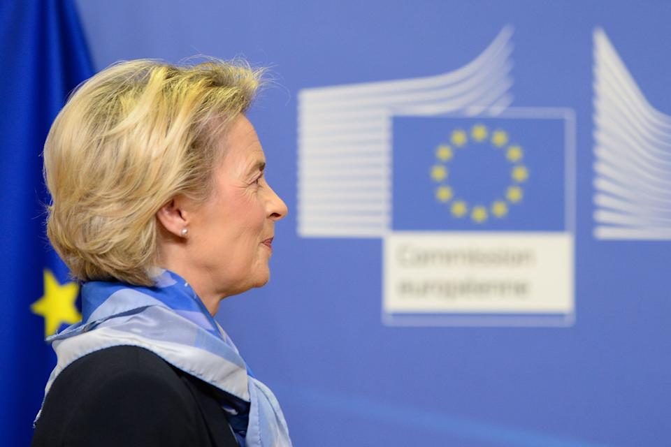 European Commission President Ursula von der Leyen arrives to give a press statement after the European Medicines Agency (EMA) gave the green light to European countries to start Covid-19 vaccinations in the coming days, after a regulatory approval for the use of a shot jointly developed by US company Pfizer and its German partner BioNTech, in Brussels, on December 21, 2020. (Photo by JOHANNA GERON / POOL / AFP) (Photo by JOHANNA GERON/POOL/AFP via Getty Images) (Photo: JOHANNA GERON via Getty Images)