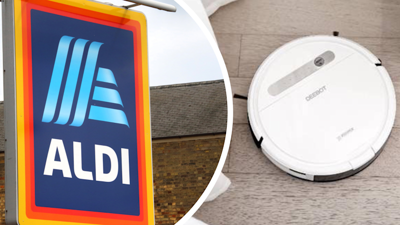 Pictured: ALDI store sign and robotic vacuum cleaner and mop. Images: Getty, ECOVACS