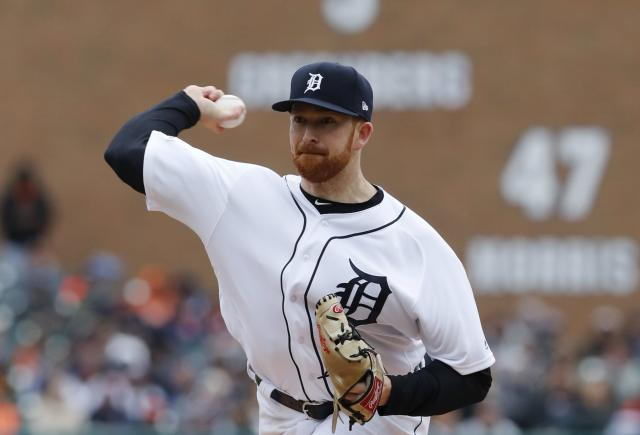Detroit Tigers pitcher Spencer Turnbull throws during the first inning of a baseball game against the Kansas City Royals, Thursday, April 4, 2019, in Detroit. (AP Photo/Carlos Osorio)