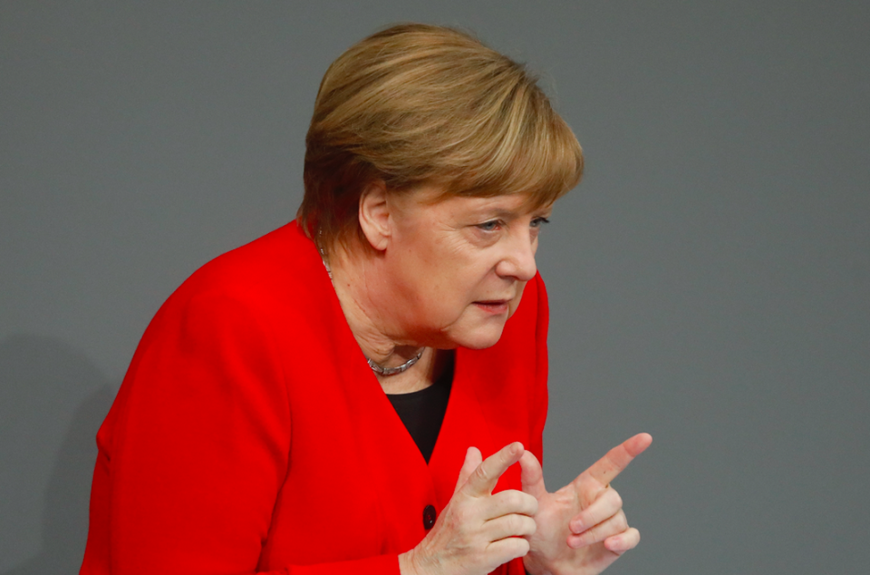 <em>Mrs Merkel has pledged to do everything to avoid a no-deal Brexit (Getty)</em>