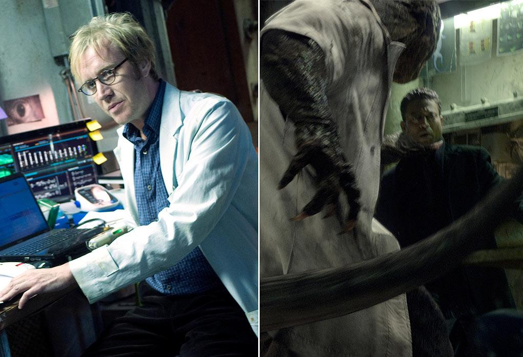 """<b>Dr. Curt Connors/ The Lizard</b><br> Played by Rhys Ifans (when in human form), The Lizard in """"Amazing Spider-Man"""" is human, too, sort of: """"There was a guy named Big John who is literally a big guy named John. He did a lot of the interactive stuff...Then we would replace him with the computer generated Lizard. Then the performance capture was done with Rhys Ifans...We would shoot Rhys in a similar environment and get his facial components to incorporate his performance into the lizard himself,"""" director Marc Web <a href=""""http://www.eonline.com/news/amazing_spider-man_scoop_five_things_we/313687#ixzz1ubmSEo00"""">recently explained</a>."""